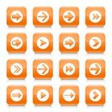 Orange Pfeilzeichen rundete quadratischen Ikonennetzknopf stock abbildung