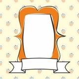 Orange photo vector frame on cake background Stock Image