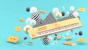 Orange piano keyboard and orange tape amidst colorful balls on a blue background. royalty free illustration