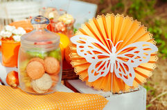 Orange picnic with oranges flowers and cupcakes Stock Photos