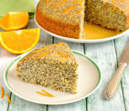 Orange pie with poppy seeds Stock Images