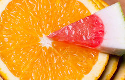 Orange and piece of grapefruit. Stock Photography