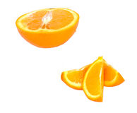 Orange pieces. Orange half and pieces stock image
