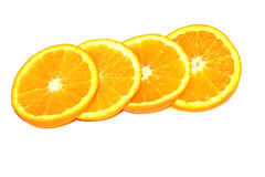 Orange Pieces On White Background. Orange Pieces On White Colored Background Stock Images