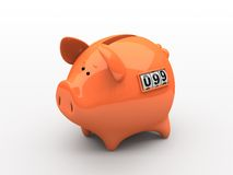 Orange piggy bank. Counter on white background Royalty Free Stock Photography