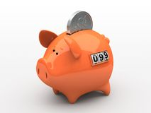 Orange piggy bank. Counter on white background Royalty Free Stock Images