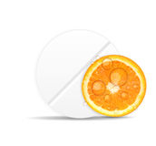 Orange pill icon.Environment background vector Royalty Free Stock Image