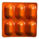 Orange pills blister pack Stock Photos