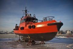 Orange Pilot boat Royalty Free Stock Photography