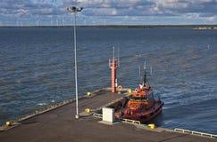 Orange Pilot boat in harbour Royalty Free Stock Image