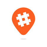 Orange pin with hashtag icon Royalty Free Stock Photography