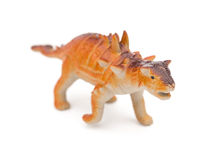 Orange Pinacosaurus toy on white background Royalty Free Stock Images