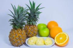 Orange pineapple apple fruit isolated on white background Royalty Free Stock Image