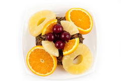Orange Pineapple and cherry Slices Stock Images