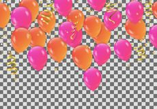 Orange pink balloons, confetti concept design Party, Celebration. Vector illustration Stock Photo