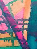 Orange pink and green canvas abstract painting royalty free stock photo