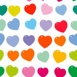 Orange pink purple red green blue heart seamless pattern on white background. Vector Royalty Free Stock Photo