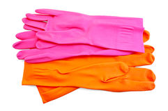 Orange and pink rubber gloves Stock Photo