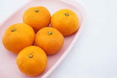 Orange on pink tray. Sour orange have not seeds placed on pink tray with white background Royalty Free Stock Image