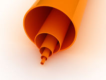 Orange Pipes 3D. 3d rendered orange pipes isolated on white background Royalty Free Stock Photography