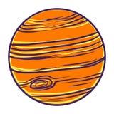 Orange planet icon, hand drawn style stock illustration