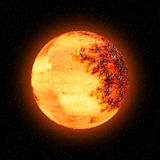 Orange planet, sun or moon Stock Images