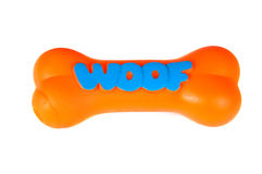 Orange plasgtic dog chew toy, isolated on white Stock Photos