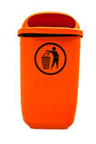 Orange plastic dust bin. Orange plastic dust bin isolated over white background Royalty Free Stock Photos