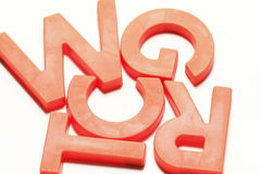 Orange Plastic magnetic alphabets Stock Image