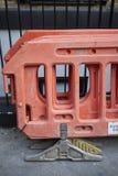 Orange Plastiksperre stockfoto