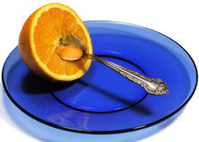 Orange on Plate Royalty Free Stock Image