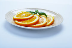 Orange plate. Orange slices on plate Royalty Free Stock Photo