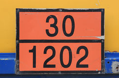 Orange plate with hazard identification number. Sometimes called the Kemler code. Vehicles with tanks carry the HIN (hazard identification number) to identify Royalty Free Stock Images