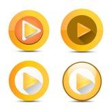 Orange Play button set. vector illustration Royalty Free Stock Image