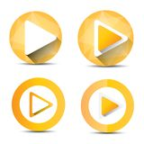 Orange Play button set. vector illustration Royalty Free Stock Photography
