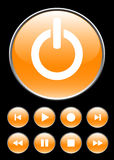 Orange player buttons. Orange circle buttons for player Royalty Free Stock Images