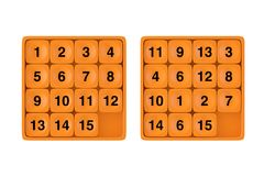Orange Pocket Sliding Fifteen Rebus Puzzle Game. 3d Rendering. Orange Pocket Sliding Fifteen Rebus Puzzle Game on a white background. 3d Rendering Stock Photography