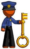 Orange Police Man holding key made of gold. Toon Rendered 3d Illustration Stock Photos