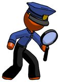 Orange Police Man Inspecting with large magnifying glass right stock illustration