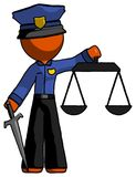 Orange Police Man justice concept with scales and sword, justici. A derived - Toon Rendered 3d Illustration Stock Photos