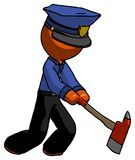Orange Police Man striking with a red firefighter`s ax. Toon Rendered 3d Illustration Stock Photo