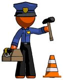 Orange Police Man Under Construction Concept, Traffic Cone And T royalty free illustration