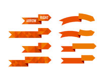 Orange polygon arrow set vector illustration. For web and print design royalty free illustration