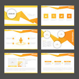 Orange polygon presentation templates Infographic elements flat design set for brochure flyer leaflet marketing Stock Images