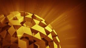 Orange polygonaler Ball 3D übertragen Stockbilder