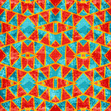 Orange Polygons On A Blue Background. Seamless Geometric Pattern. Royalty Free Stock Images