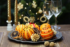 Orange pomander balls, christmas table decoration Royalty Free Stock Image