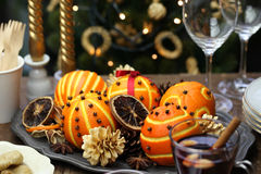 Orange pomander balls, christmas table decoration Stock Photos