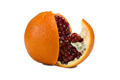 Orange with pomegranate inside Royalty Free Stock Photo