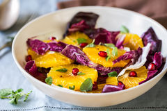 Orange with Pomegranate and Radicchio salad. By Balsamic dressing Royalty Free Stock Photos